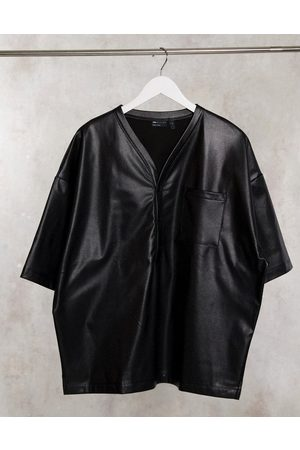 ASOS Oversized baseball shirt in stretch perforated pu leather in black