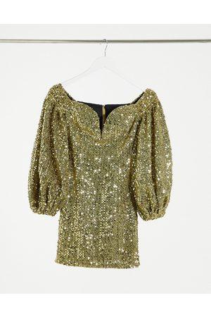 Rare Fashion London sequin mini dress in gold