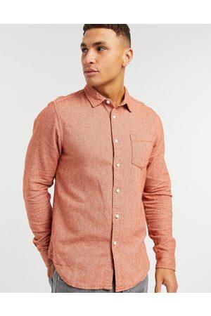 ASOS Regular flannel shirt in rust-Orange