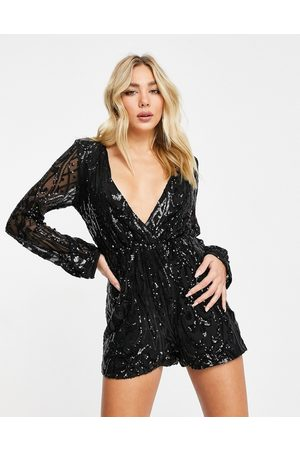 I saw it first Sequin plunge wrap playsuit in black
