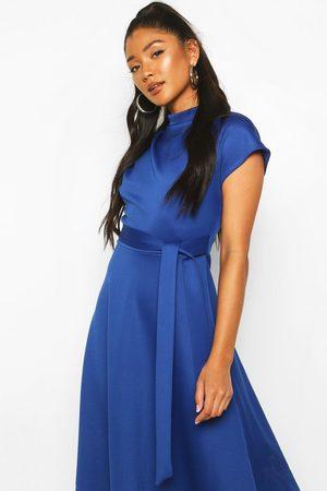 Boohoo Women Maxi Dresses - Funnel Neck Belted Midi Skater Dress- Cobalt