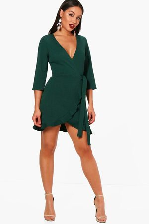 Boohoo Formal Tie Wrap Frill Detail Skater Dress- Evergreen