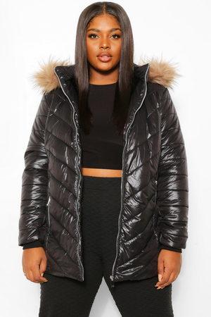 Boohoo Plus Faux Fur Trimmed Puffer Coat