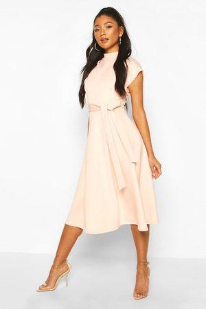 Boohoo Women Maxi Dresses - Funnel Neck Belted Midi Skater Dress- Blush