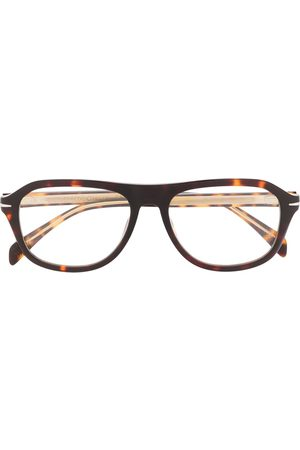 Eyewear by David Beckham Tortoiseshell rounded frame glasses