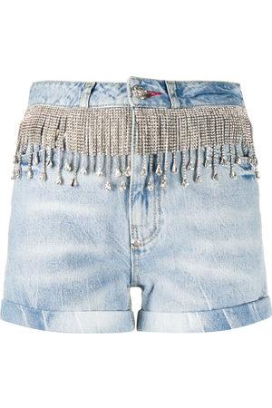Philipp Plein Women Shorts - Crystal fringe denim shorts