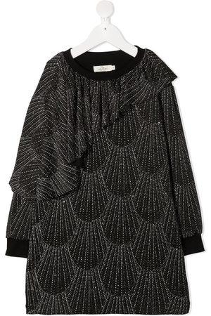 Le pandorine Glitter detail long-sleeved dress