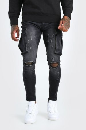 Boohoo Men Skinny - Mens Washed Super Skinny Cargo Jean With Knee Rips