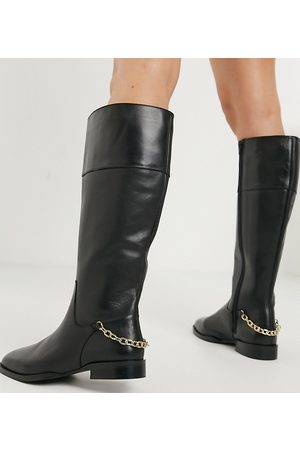 ASOS Wide Fit Camilla leather riding knee boots-Black