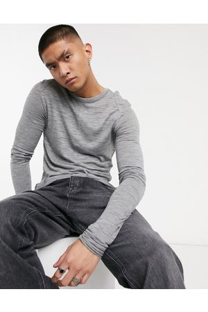 ASOS Muscle longline super long-sleeved T-shirt in grey textured fabric
