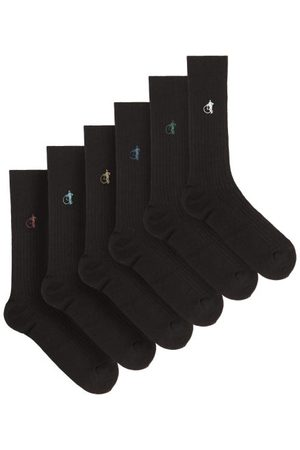 London Sock Company Simply Pack Of Six Ribbed Cotton-blend Socks - Mens