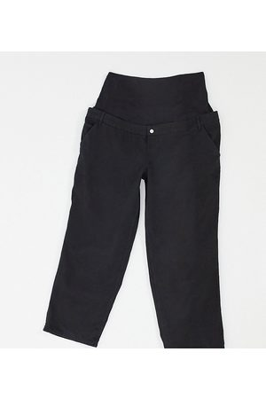 ASOS ASOS DESIGN Maternity slouchy chino pants in black with over the bump band