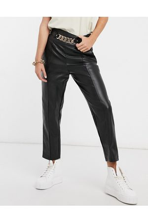 River Island Faux-leather belted pants in black