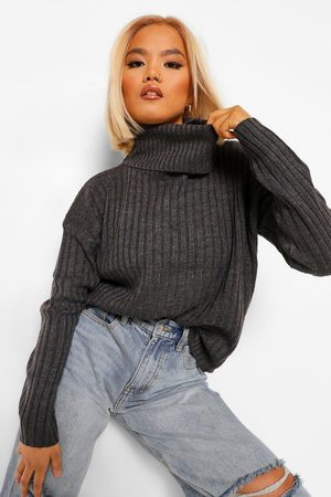 Boohoo Petite Roll Neck Knitted Jumper- Charcoal