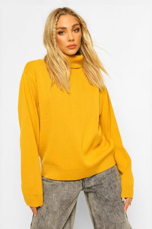 Boohoo Plus Roll Neck Knitted Jumper- Mustard