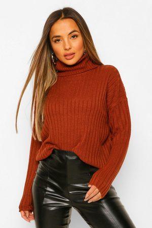 Boohoo Petite Roll Neck Knitted Jumper- Rust