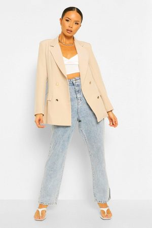 Boohoo Double Breasted Military Blazer- Natural