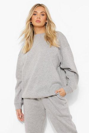 Boohoo Women Short Sleeve - Basic Oversized Sweatshirt- Marl