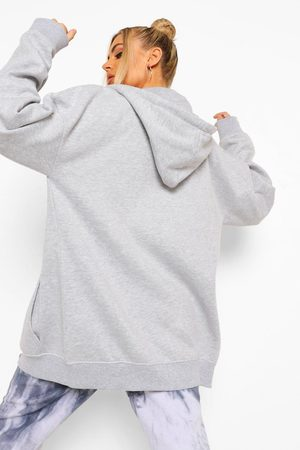 Boohoo Basic Oversized Zip Through Hoody- Marl