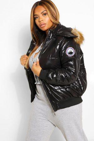 Boohoo Plus Faux Fur Trim High Shine Puffer Jacket