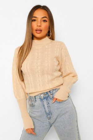 Boohoo Women Sweaters - Petite Cable Knit High Neck Puff Sleeve Jumper- Cream