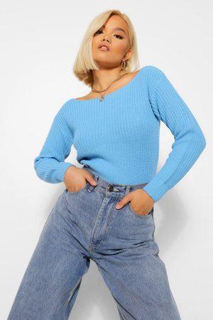 Boohoo Women Sweaters - Petite Slash Neck Crop Fisherman Sweater- Baby