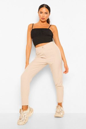 Boohoo Tailored Pants- Natural