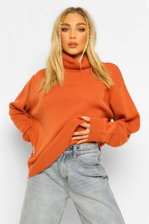 Boohoo Plus Roll Neck Knitted Jumper- Chestnut