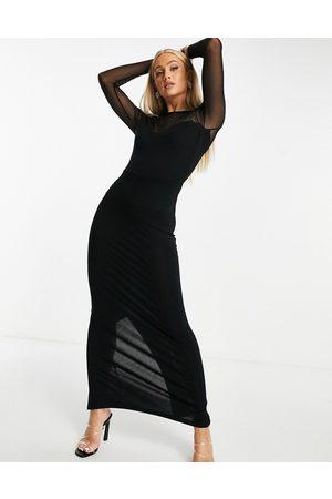 ASOS Long sleeve mesh yoke maxi dress in black