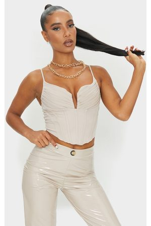 PRETTYLITTLETHING Cream Strappy Pleated Bust Corset Detail Crop Top