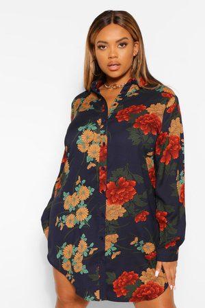Boohoo Plus Floral Satin Shirt Dress- Navy