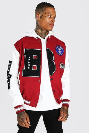 Boohoo Men Leather Jackets - Mens B Varsity Patch Bomber With Leather Look Sleeves