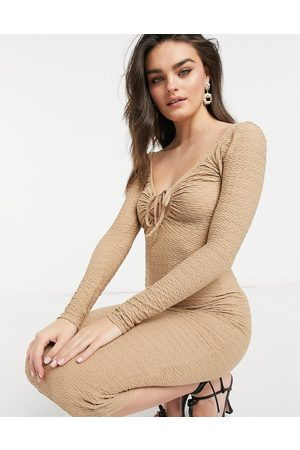 ASOS Long-sleeved textured chanelled midi dress in stone