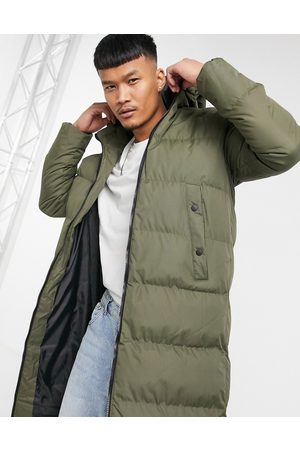Soul Star Long line Puffer Jacket In Khaki-Green