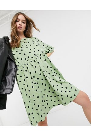 ASOS Super oversized frill sleeve smock in sage and black spot print-Green