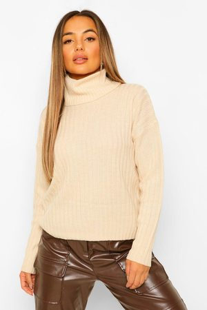 Boohoo Petite Roll Neck Knitted Jumper- Stone