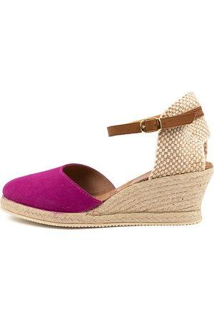Diana Ferrari Women Wedges - Talori Df Magenta Tan Shoes Womens Shoes Casual Heeled Shoes