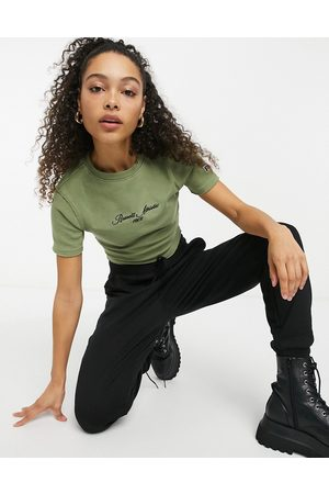 Russell Athletic Ribbed crop top in khaki-Green