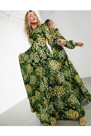 ASOS Maxi dress with blouson sleeve and open back in yellow embroidery-Multi