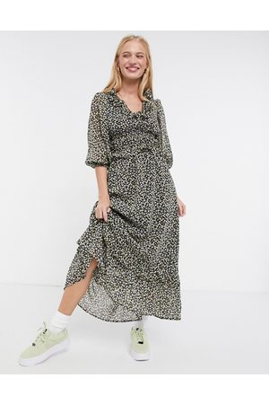 ASOS Button front maxi dress in ditsy floral print-Multi