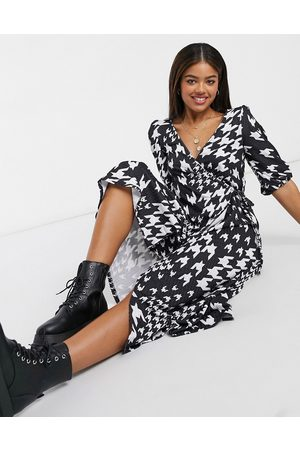 ASOS Textured midi smock dress in black and white dogtooth