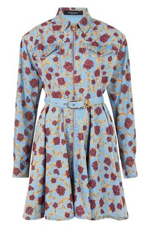 VERSACE Shirt dress with floral embroidery
