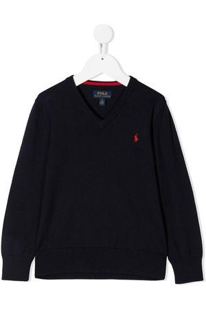Ralph Lauren Boys Sweaters - V-neck embroidered logo jumper
