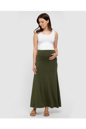 Bamboo Body Women Maxi Skirts - Lana Bamboo Long Skirt - Skirts (Dark Olive) Lana Bamboo Long Skirt