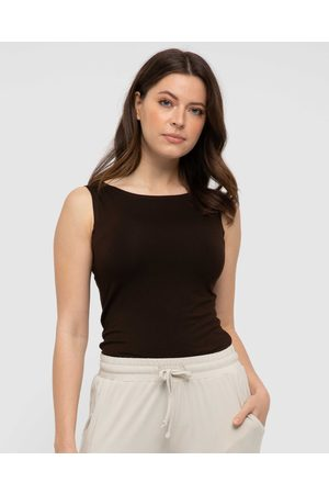 Bamboo Body Shell Top - Tops (Chocolate) Shell Top