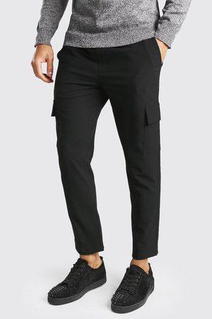 Boohoo Men Cargo Pants - Mens Skinny Plain Cargo Smart Cropped Jogger Trouser