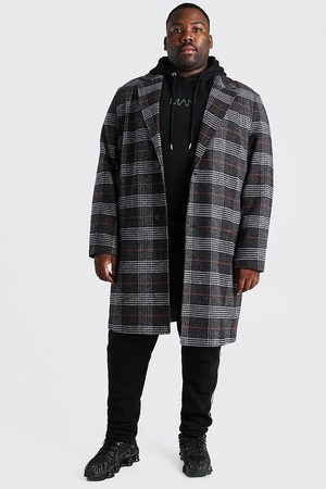 Boohoo Men Trench Coats - Mens Charcoal Plus Size Check Single Breasted Overcoat
