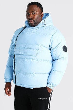 Boohoo Mens Light Plus Size Front Pocket Side Zip Puffer