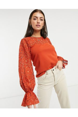 River Island Lace-sleeved blouse in red-Brown