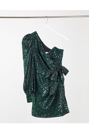 Collective The Label One shoulder bow waist organza mini dress in emerald green leopard organza